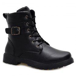 Buckle Strap Zipper Tie Up Boots - BLACK