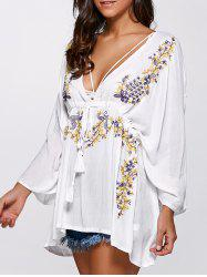 Holiday Paisley Embroidery Tassel Pendant Plunging Blouse -