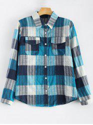 Flap Pockets Plaid Shirt - BLUE S