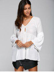 Plunging Neck Puff Sleeve Loose Ruched Blouse -