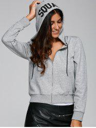 Long Sleeve Zip-Up Letter Print Hoodie -