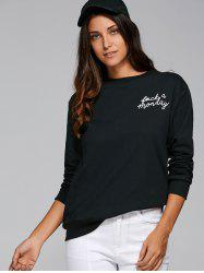 Jewel Neck Long Sleeve Loose Sports Printed Sweatshirt -