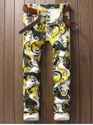 Ornate Printed Zipper Fly Casual Pants - WHITE 38