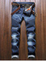Zipper Fly Multi-Pocket lambrissée Biker Jeans - Bleu Foncu00e9