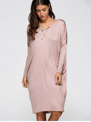 V Neck Loose Asymmetric Dress -