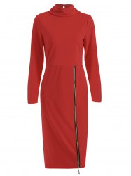 Turtle Neck Zippered Dress -