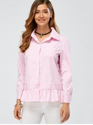 Ruffle Long Sleeve Peplum Striped Shirt -
