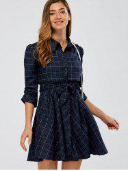 Ruffle Plaid Shirt Dress - CADETBLUE 2XL