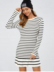 Pleated Striped Jumper Dress - WHITE