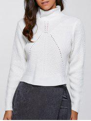 Stand Neck Long Sleeve Short Sweater -