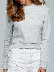 Crew Neck Lace-Up Side Short Sweatshirt
