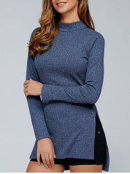 Fitted Slit Mock Neck Pullover Sweater