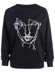 Plus Size Loose Abstract Face Print Sweatshirt -