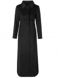 Turn Down Collar Fitted Longline Coat