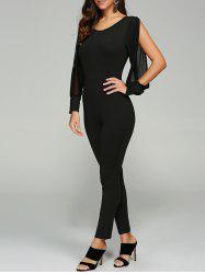 Split Sleeve Skinny Leg Jumpsuit - BLACK