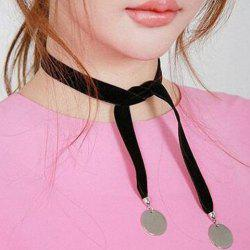 Velvet Knotted Disc Choker Necklace - SILVER WHITE