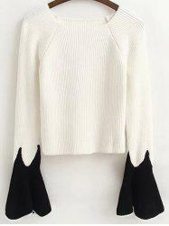 Flare Sleeve Color Block Fitting Sweater -
