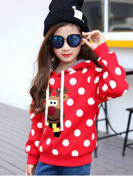Thicken Polka Dot Cartoon Printed Hoodie - RED