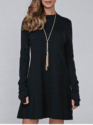 High Neck Long Sleeve Casual Jumper Dress - BLACK