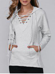Hooded Lace-Up Pocket T-Shirt