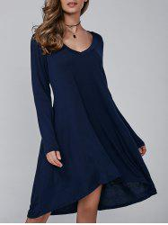 V Neck Long Sleeved Asymmetric Loose Swing Dress - PURPLISH BLUE