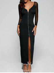 Slit Zip Up Long Night Out Dress