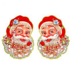 2PCS Christmas Party Supplies Senta Claus Wall Stickers Decoration -