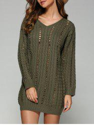 Casual V Neck Openwork Cable Knit Jumper Dress - BLACKISH GREEN