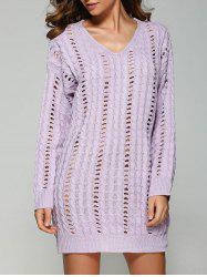 Casual V Neck Openwork Cable Knit Jumper Dress - LAVENDER ONE SIZE