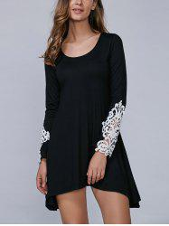 Asymmetric Lace Spliced Mini Dress - BLACK