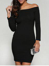 Off Shoulder Bodycon Skinny Long Sleeve Dress - BLACK