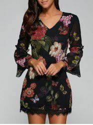 Bell Sleeves Floral Print Laciness Dress - BLACK