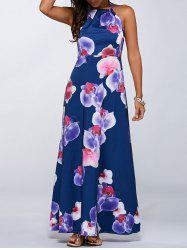 Floral Print Halter Open Back Maxi Wedding Guest Dress - BLUE XL