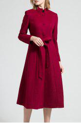 Skirted Wool Blend Coat with Belt -