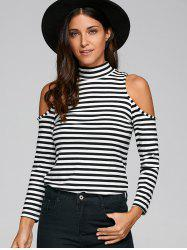Turtleneck Long Sleeve Striped Cold Shoulder T-Shirt