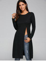 Round Neck Long Sleeve High Slit Fitting T-Shirt -