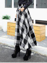 High Waist Maxi Plaid Wool Skirt