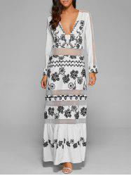 Floral Long Sleeve Mesh Maxi Evening Dress