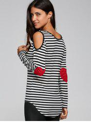 Long Sleeve Scoop Neck Casual Striped Cold Shoulder T-Shirt