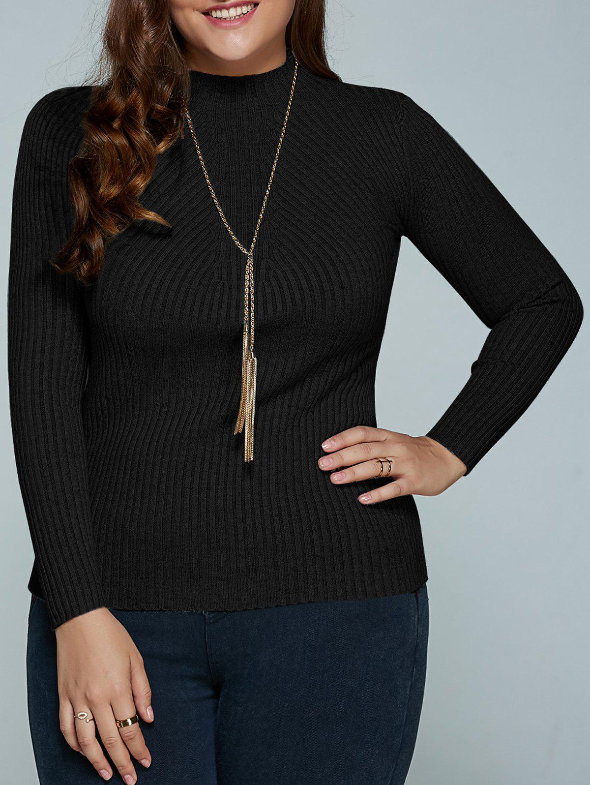 Cheap Plus Size Ribbed Fitted Knitwear