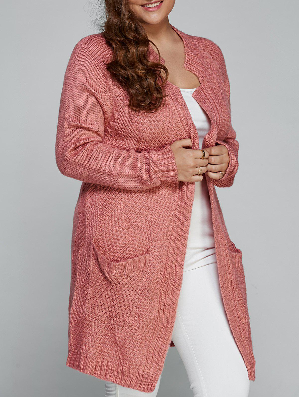 Trendy Plus Size Fisherman Knitted Pocket Long Cardigan