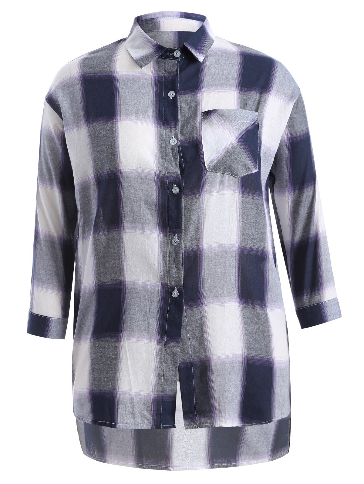 Shop Plus Size Asymmetrical Plaid Shirt