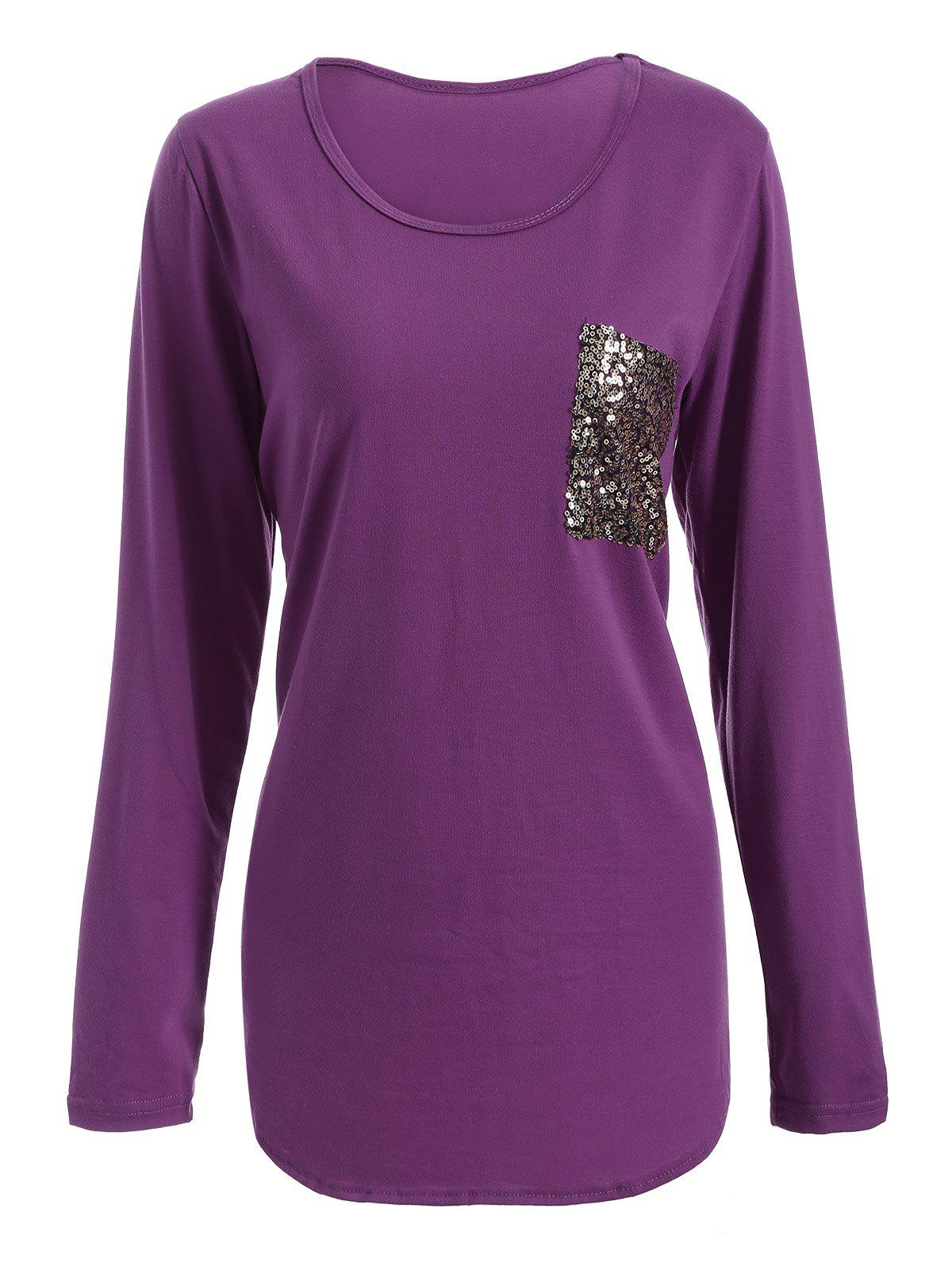 Sale Chic Scoop Collar Long Sleeve Sequined Women's T-Shirt