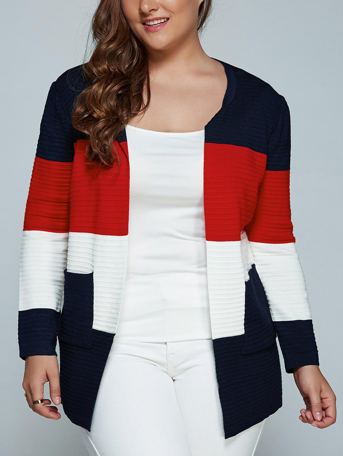 Color Block Plus Size Cardigan With PocketsWOMEN<br><br>Size: 3XL; Color: RED; Type: Cardigans; Material: Cotton,Linen,Polyester; Sleeve Length: Full; Collar: Scoop Neck; Style: Fashion; Season: Fall,Spring,Winter; Pattern Type: Patchwork; Weight: 0.578kg; Package Contents: 1 x Sweater;