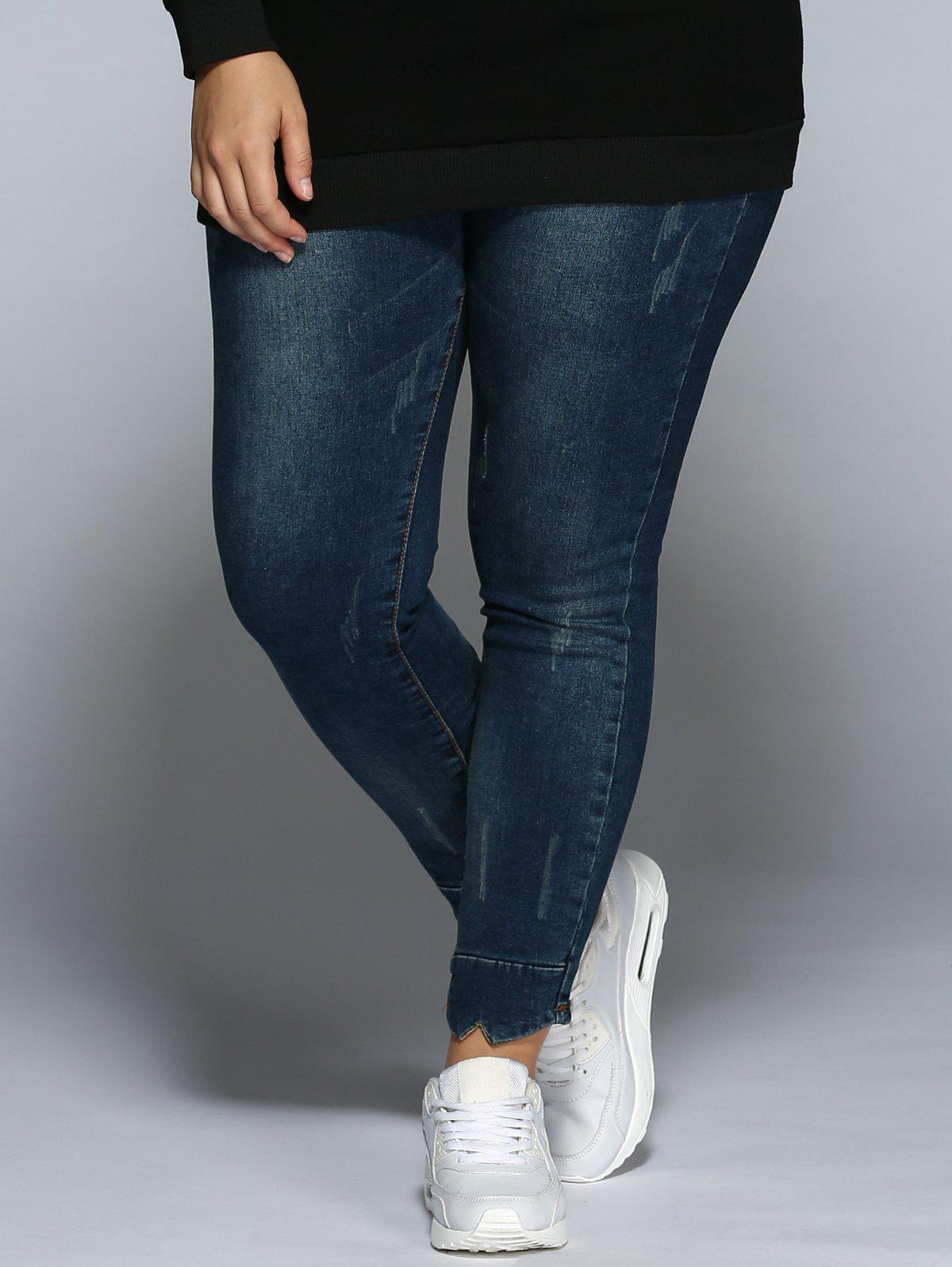 Plus Size Pencil JeansWOMEN<br><br>Size: 2XL; Color: DENIM BLUE; Style: Casual; Length: Normal; Material: Spandex; Fit Type: Skinny; Waist Type: Mid; Closure Type: Button Fly; Pattern Type: Patchwork; Pant Style: Pencil Pants; Weight: 0.470kg; Package Contents: 1 x Jeans;