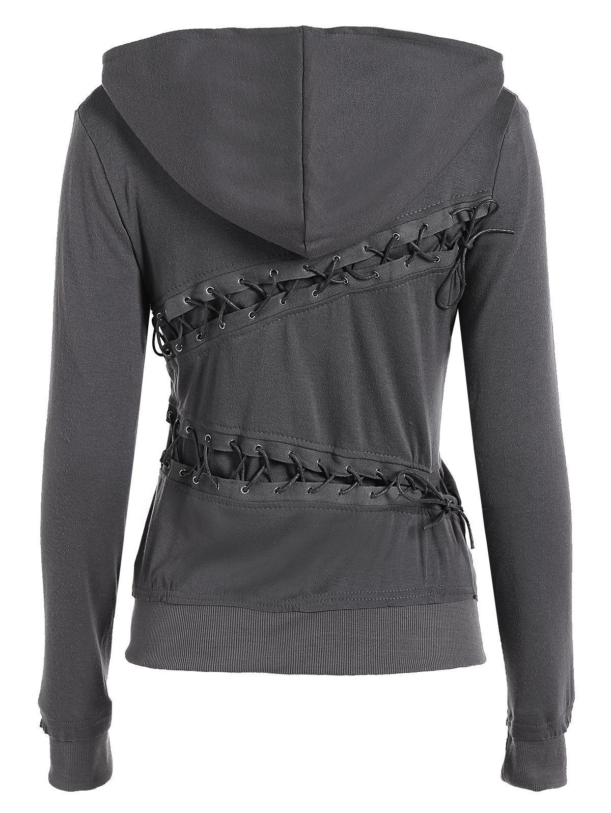 Unique Trendy Hooded Long Sleeve Lace-Up Solid Color Women's Hoodie