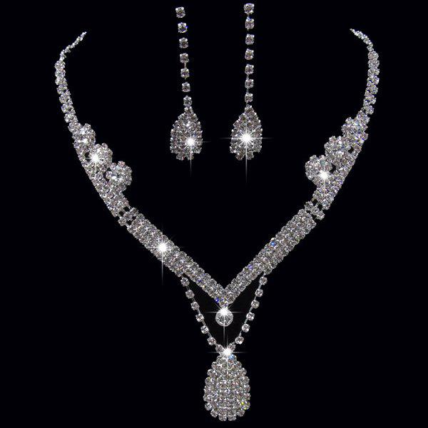 Rhinestoned Teardrop Shape Jewelry SetJEWELRY<br><br>Color: SILVER; Item Type: Pendant Necklace; Gender: For Women; Material: Rhinestone; Metal Type: Alloy; Style: Romantic; Shape/Pattern: Water Drop; Weight: 0.050kg; Package Contents: 1 x Necklace 1 x Earrings(Pair);