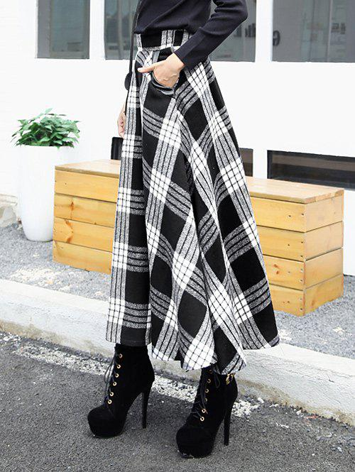 High Waist Maxi Plaid Wool SkirtWOMEN<br><br>Size: M; Color: WHITE; Material: Polyester; Length: Mid-Calf; Silhouette: A-Line; Pattern Type: Plaid; Season: Fall,Spring; Weight: 0.250kg; Package Contents: 1 x Skirt;