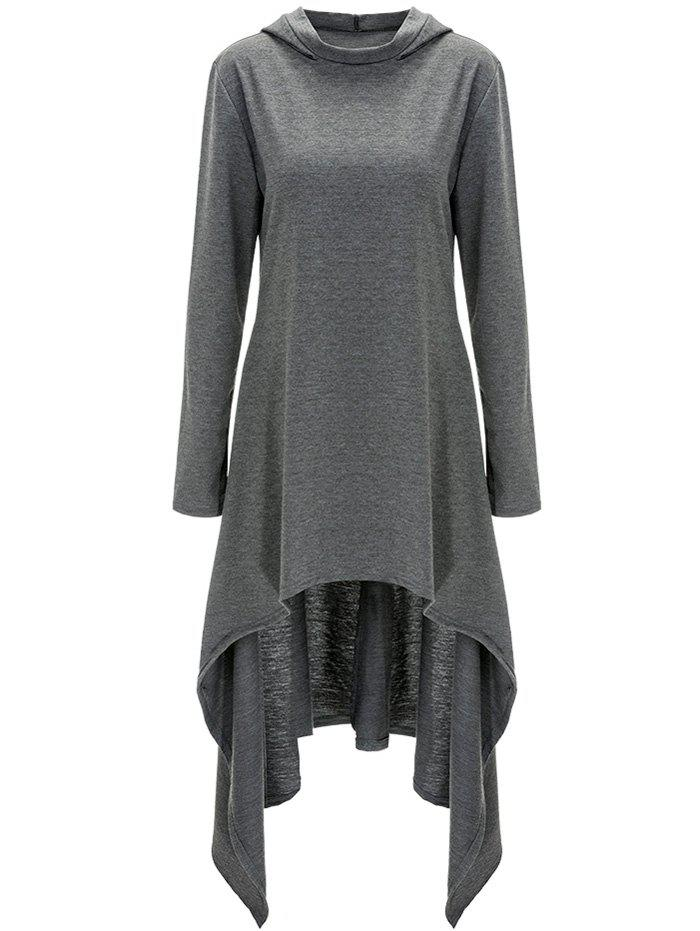 High Low Hooded Dress with Long SleevesWOMEN<br><br>Size: 2XL; Color: GRAY; Style: Casual; Material: Cotton,Polyester; Silhouette: A-Line; Dresses Length: Mid-Calf; Neckline: Hooded; Sleeve Length: Long Sleeves; Pattern Type: Solid; With Belt: No; Season: Fall,Spring; Weight: 0.620kg; Package Contents: 1 x Dress;