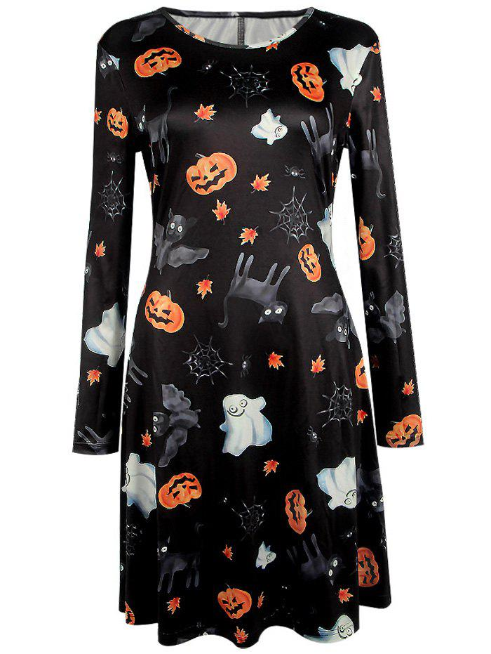 Pumpkin Halloween Print Long Sleeve Mini Swing DressWOMEN<br><br>Size: S; Color: BLACK; Style: Novelty; Material: Polyester; Silhouette: A-Line; Dresses Length: Mini; Neckline: Round Collar; Sleeve Length: Long Sleeves; Pattern Type: Print; With Belt: No; Season: Fall,Spring; Weight: 0.2500kg; Package Contents: 1 x Dress;